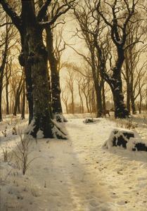 A Wooded Winter Landscape with Deer by Peder Mork Monsted