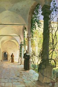 In the Cloisters of Santa Maria Jesus Monastery, in Taormina, 1885 by Peder Mork Monsted