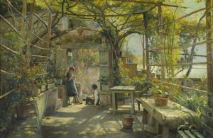 In the Pergola by Peder Mork Monsted