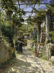 In the Shadow of an Italian Pergola, A Warm Afternoon in Anacapri by Peder Mork Monsted