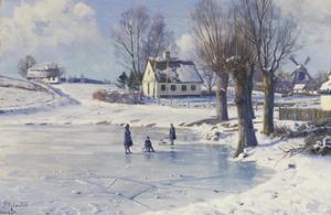 Sledging on a Frozen Pond by Peder Mork Monsted