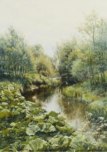 Summerday at the Stream; Sommerdag Ved Aen, 1909 by Peder Mork Monsted