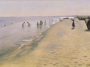 Summer Day at the South Beach of Skagen, 1884 by Peder Severin Kr?yer