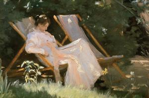 The Artist's Wife Sitting in a Garden Chair at Skagen, 1893 by Peder Severin Kr?yer
