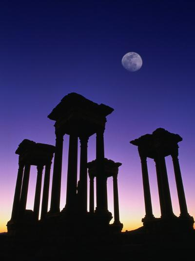 Pedestals of Tetrapylon and Moon at Sunset, Palmyra, Syria-Mark Daffey-Photographic Print