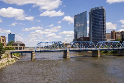 Pedestrian bridge and downtown skyline, Grand Rapids, Michigan, USA-Randa Bishop-Photographic Print
