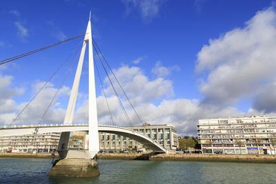 Pedestrian Bridge over the Commerce Basin, Le Havre, Normandy, France, Europe-Richard Cummins-Photographic Print