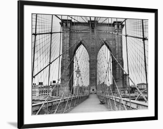 Pedestrian Walkway on the Brooklyn Bridge Framed Photographic Print by  Bettmann   Art com