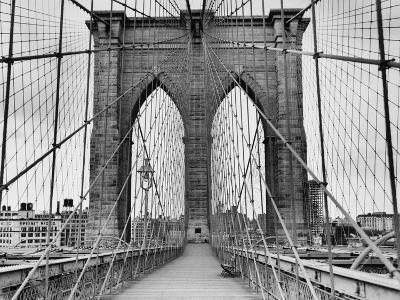 Pedestrian Walkway on the Brooklyn Bridge-Bettmann-Premium Photographic Print