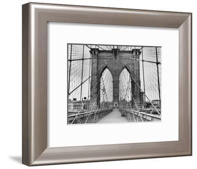 Pedestrian Walkway on the Brooklyn Bridge-Bettmann-Framed Photographic Print