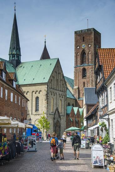 Pedestrian Zone with the Historic Houses in Ribe, Denmark's Oldest Surviving City, Jutland, Denmark-Michael Runkel-Photographic Print