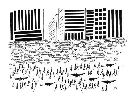Pedestrians and Alligators walk on crowded sidewalk as cars flood a city a? - New Yorker Cartoon-Saul Steinberg-Premium Giclee Print