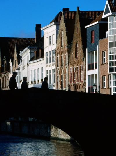 Pedestrians Crossing Canal and Houses Near Jan Van Eyckplein, Bruges, Belgium-Martin Moos-Photographic Print