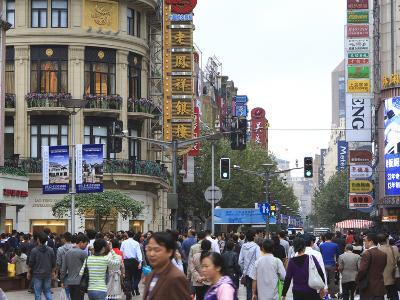 Pedestrians, Nanjing Road East, Nanjing Dong Lu, Shanghai, China, Asia-Amanda Hall-Photographic Print