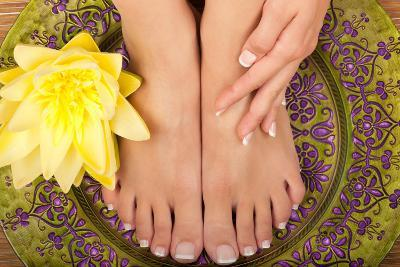 Pedicure and Manicure Spa with Beautiful Flowers-BVDC-Photographic Print