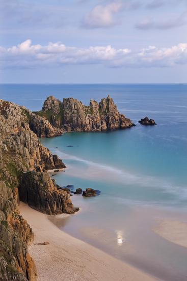 Pednvounder Beach and Logan Rock from the Clifftops Near Treen, Porthcurno, Cornwall-Adam Burton-Photographic Print