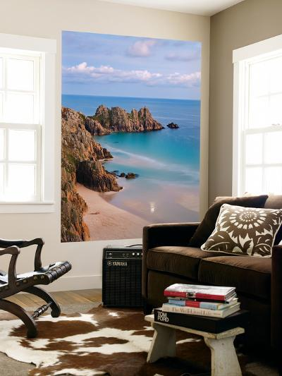 Pednvounder Beach and Logan Rock from the Clifftops Near Treen, Porthcurno, Cornwall-Adam Burton-Wall Mural
