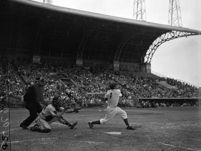 Pee Wee Reese Bats for the Brooklyn Dodgers During a Dodgers-Braves Game at Miami Stadium--Photographic Print