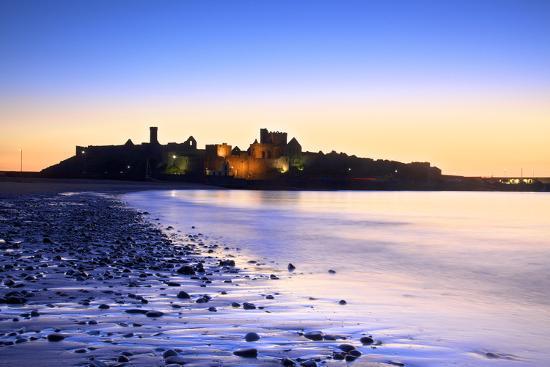 Peel Castle at Dusk, St. Patrick's Isle, Isle of Man-Neil Farrin-Photographic Print