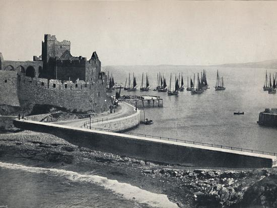'Peel - The Old Castle and Harbour', 1895-Unknown-Photographic Print