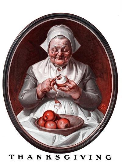 """""""Peeling Apples,""""November 28, 1925-Joseph Christian Leyendecker-Giclee Print"""