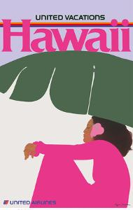 Hawaii - Lady in Pink - United Air Lines by Pegge Hopper