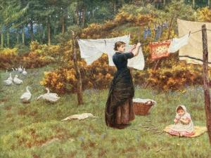 Pegging Out the Washing in the English Countryside