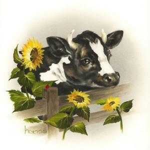 Bull and Sunflowers by Peggy Harris