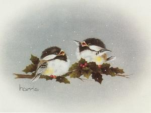Chickadees and Holly by Peggy Harris
