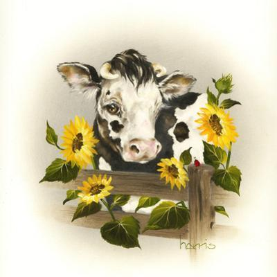 Cow and Sunflowers by Peggy Harris