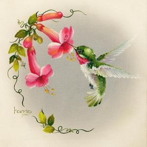 Hummingbirds with Trumpet Flowers 1 by Peggy Harris