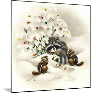 Raccoon, Chipmunks and Christmas Lights by Peggy Harris