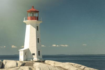 Peggy's Cove Lighthouse with a Polaroid Film Effect and Light Texture-onepony-Photographic Print