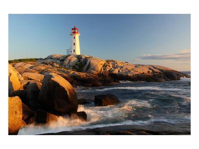 Peggys Cove Lighthouse sunset--Art Print