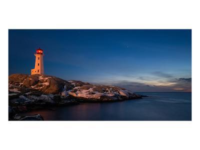 Peggys Cove's Lighthouse Dusk--Art Print