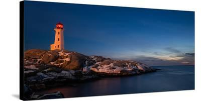 Peggys Cove's Lighthouse Dusk--Stretched Canvas Print