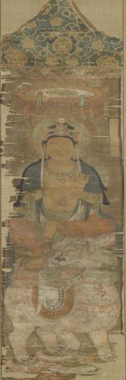 Peinture votive : Manjusri (Wenshu sur le lion faisant le geste de faire tourner la Roue de la loi)--Giclee Print