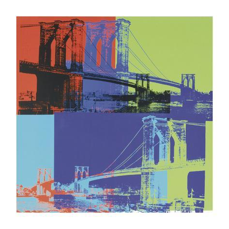 Brooklyn Bridge, vers1983 (orange, bleu, citron vert) Giclée