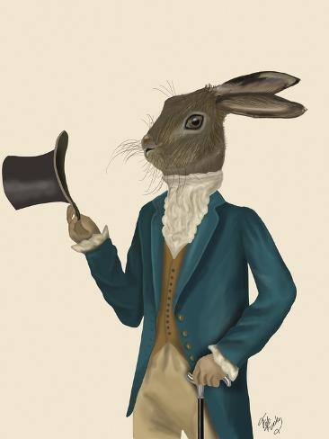 Hare in Turquoise Coat Reproduction d'art