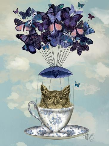 Owl in Teacup Reproduction d'art