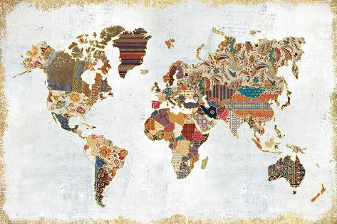 Pattern World Map Reproduction d'art