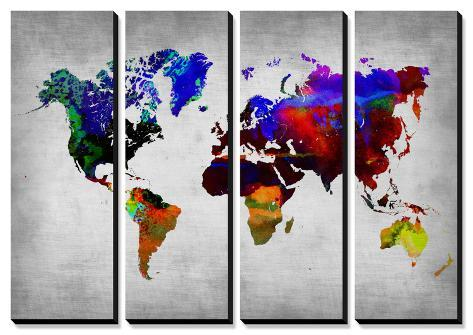 World Watercolor Map 12 Tableau multi toiles