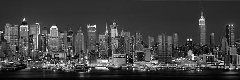 reproduction photographique 39 panorama ouest de new york vu de nuit en noir et blanc new york. Black Bedroom Furniture Sets. Home Design Ideas