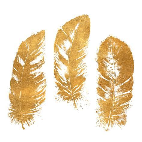 Gold Feather Square (gold foil) Reproduction d'art