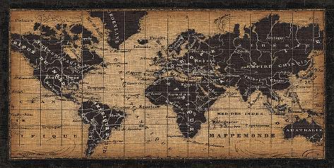 Carte ancienne du monde Reproduction d'art