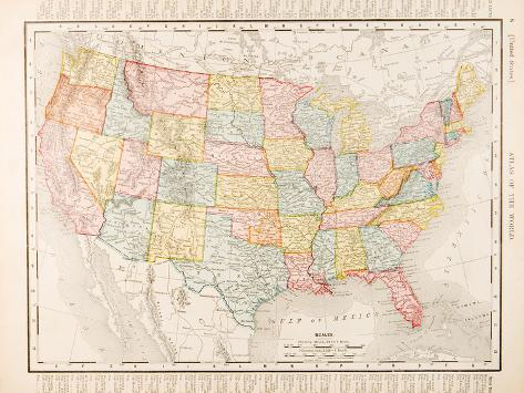 Antique Vintage Color Map United States of America, USA Reproduction d'art