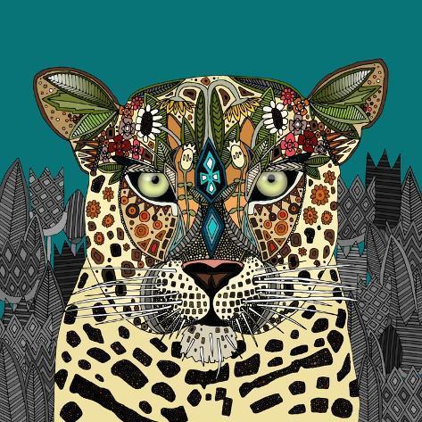 Leopard Queen Teal Reproduction d'art