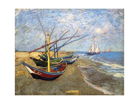 Fishing Boats on the Beach at Saintes-Maries-De-La-Mer Reproduction d'art