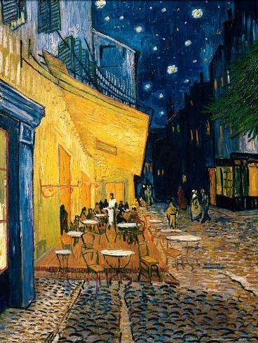 Terrasse de café le soir, place du Forum, Arles, 1888, Reproduction d'art