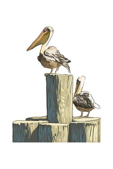 Pelican and Pilings - Icon-Lantern Press-Art Print